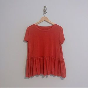 Casual Coral Short Sleeve T-Shirt Blouse